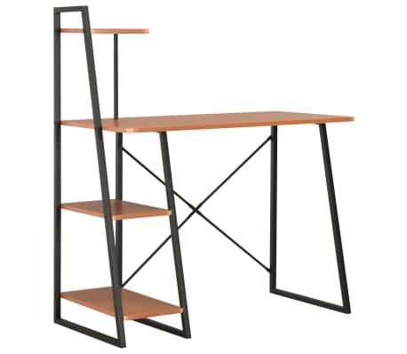 vidaXL Bureau avec étagère Noir et marron 102x50x117 cm[1/7]