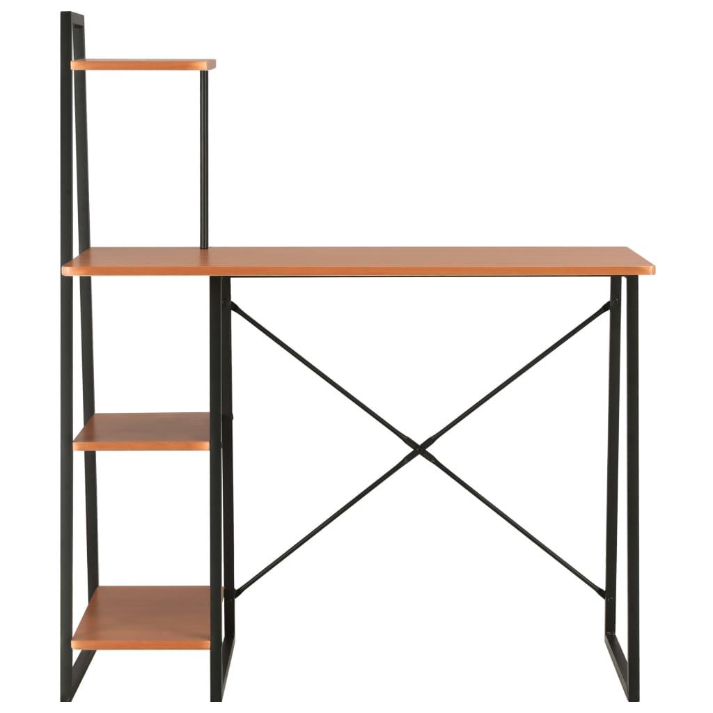 Psací stůl s poličkami černý a hnědý 102 x 50 x 117 cm