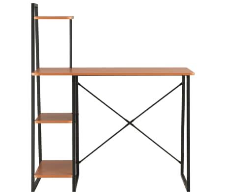 vidaXL Bureau avec étagère Noir et marron 102x50x117 cm[2/7]