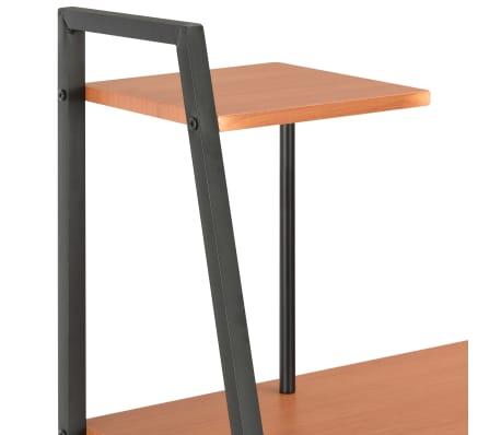 vidaXL Bureau avec étagère Noir et marron 102x50x117 cm[5/7]