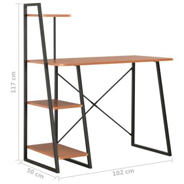 vidaXL Bureau avec étagère Noir et marron 102x50x117 cm[7/7]