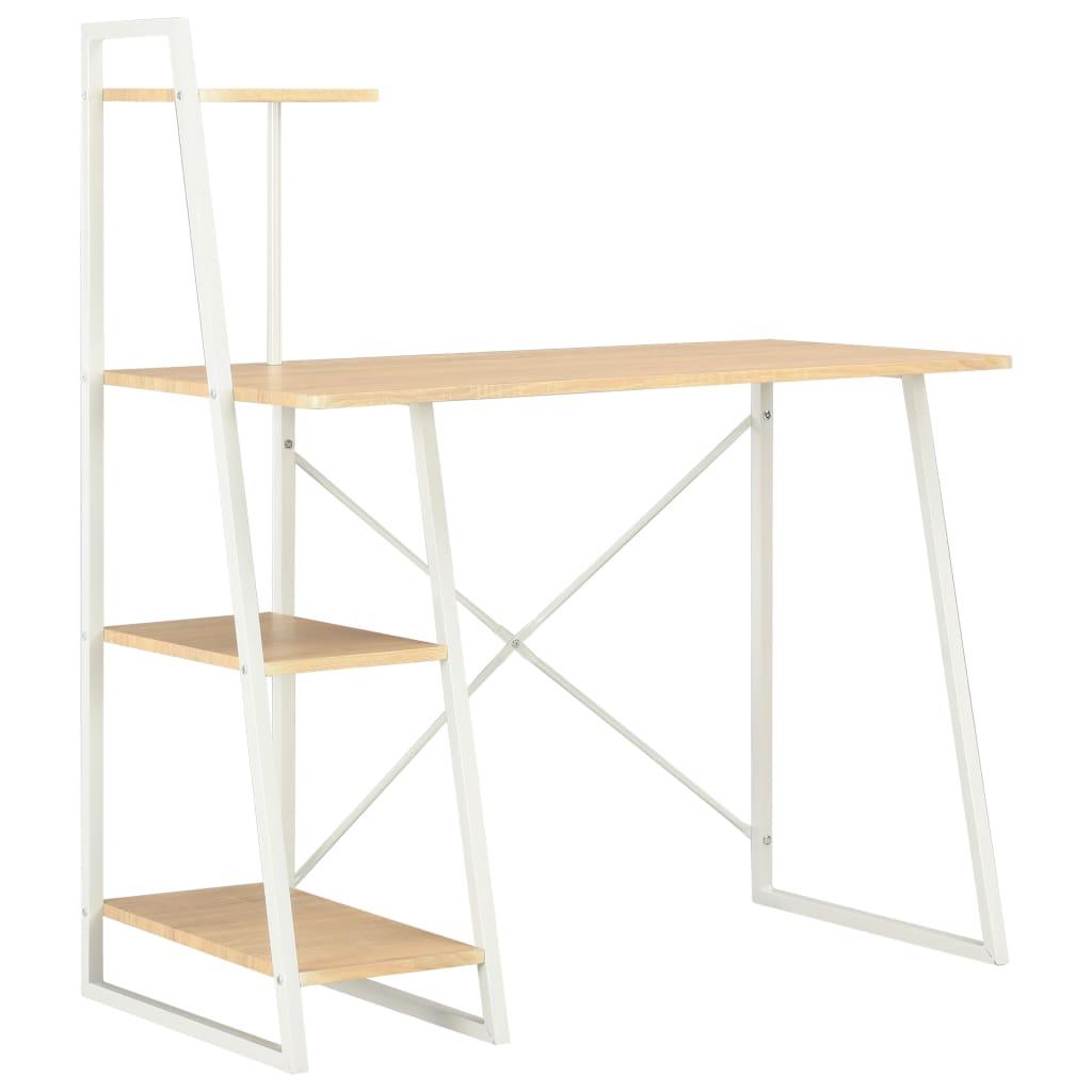 vidaXL Psací stůl s poličkami bílý a dubový odstín 102 x 50 x 117 cm