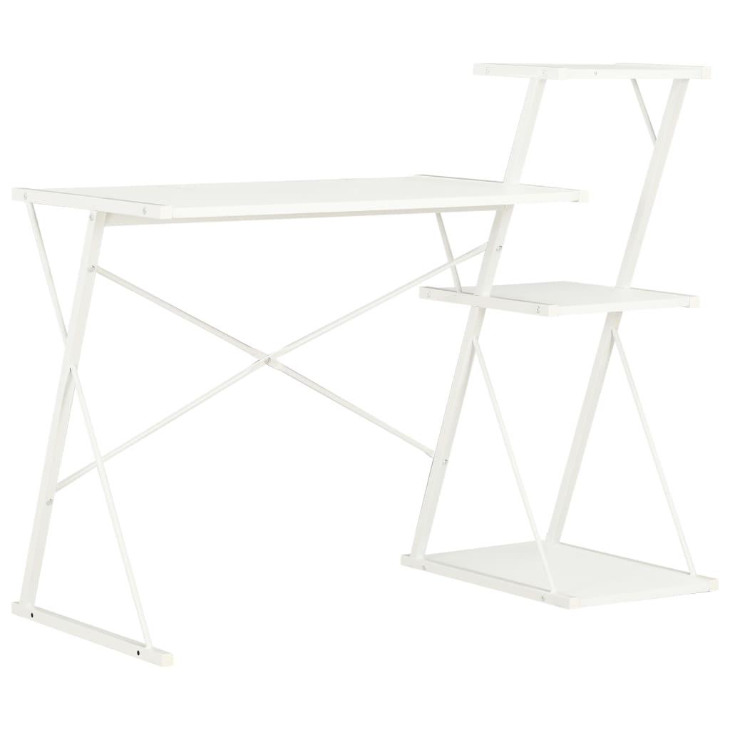 vidaXL Psací stůl s poličkami bílý 116 x 50 x 93 cm