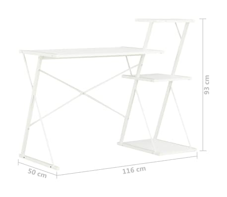vidaXL Bureau avec étagère Blanc 116x50x93 cm[7/7]