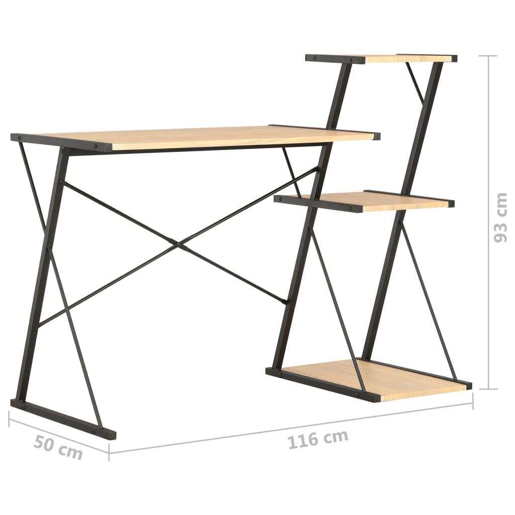 Psací stůl s poličkami černý a dubový odstín 116 x 50 x 93 cm