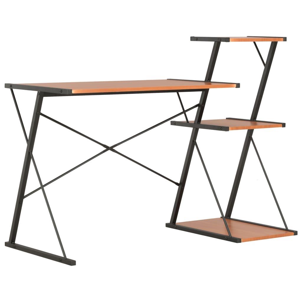 Psací stůl s poličkami černý a hnědý 116 x 50 x 93 cm