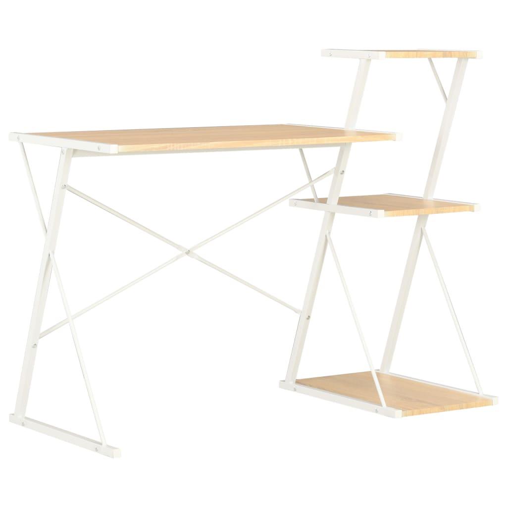 vidaXL Psací stůl s poličkami bílý a dubový odstín 116 x 50 x 93 cm