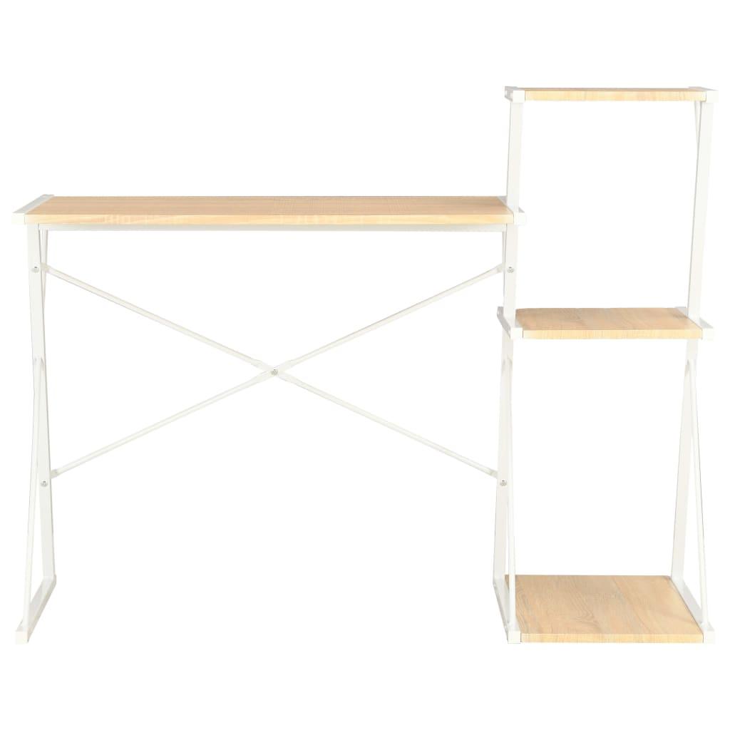 Psací stůl s poličkami bílý a dubový odstín 116 x 50 x 93 cm