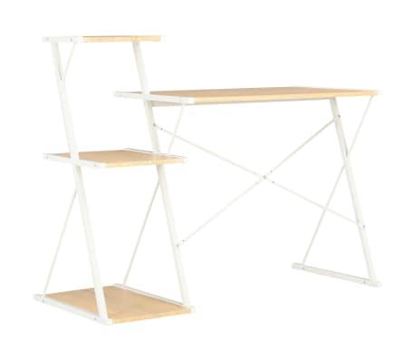vidaXL Bureau avec étagère Blanc et chêne 116x50x93 cm[4/7]