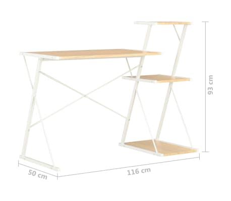 vidaXL Bureau avec étagère Blanc et chêne 116x50x93 cm[7/7]