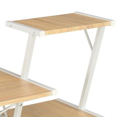 vidaXL Bureau avec étagère Blanc et chêne 116x50x93 cm[5/7]