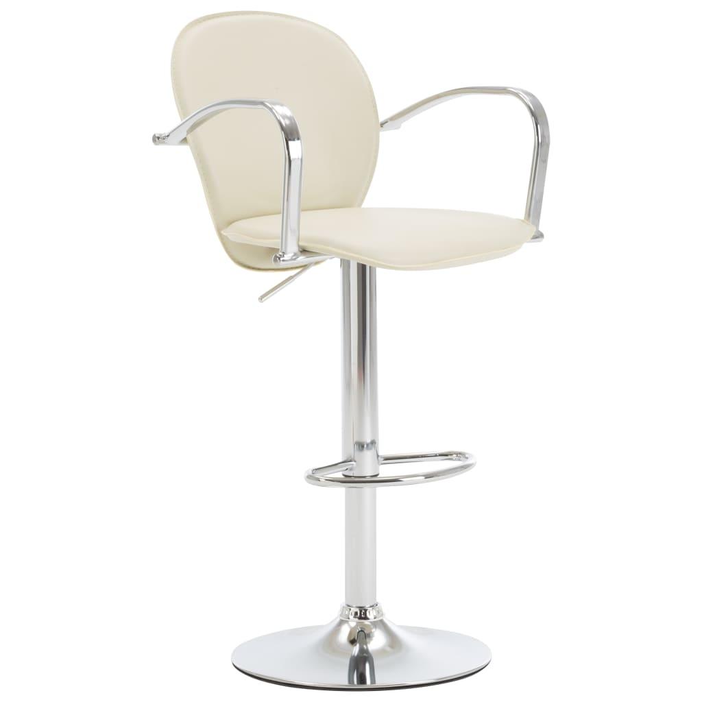 Barová stolička s područkami krémová umělá kůže