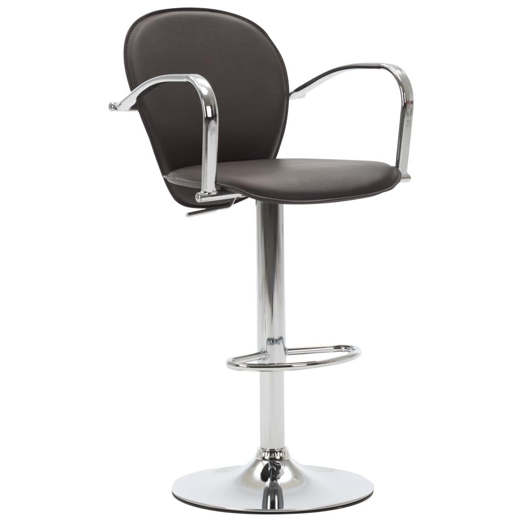 Barová stolička s područkami hnědá umělá kůže
