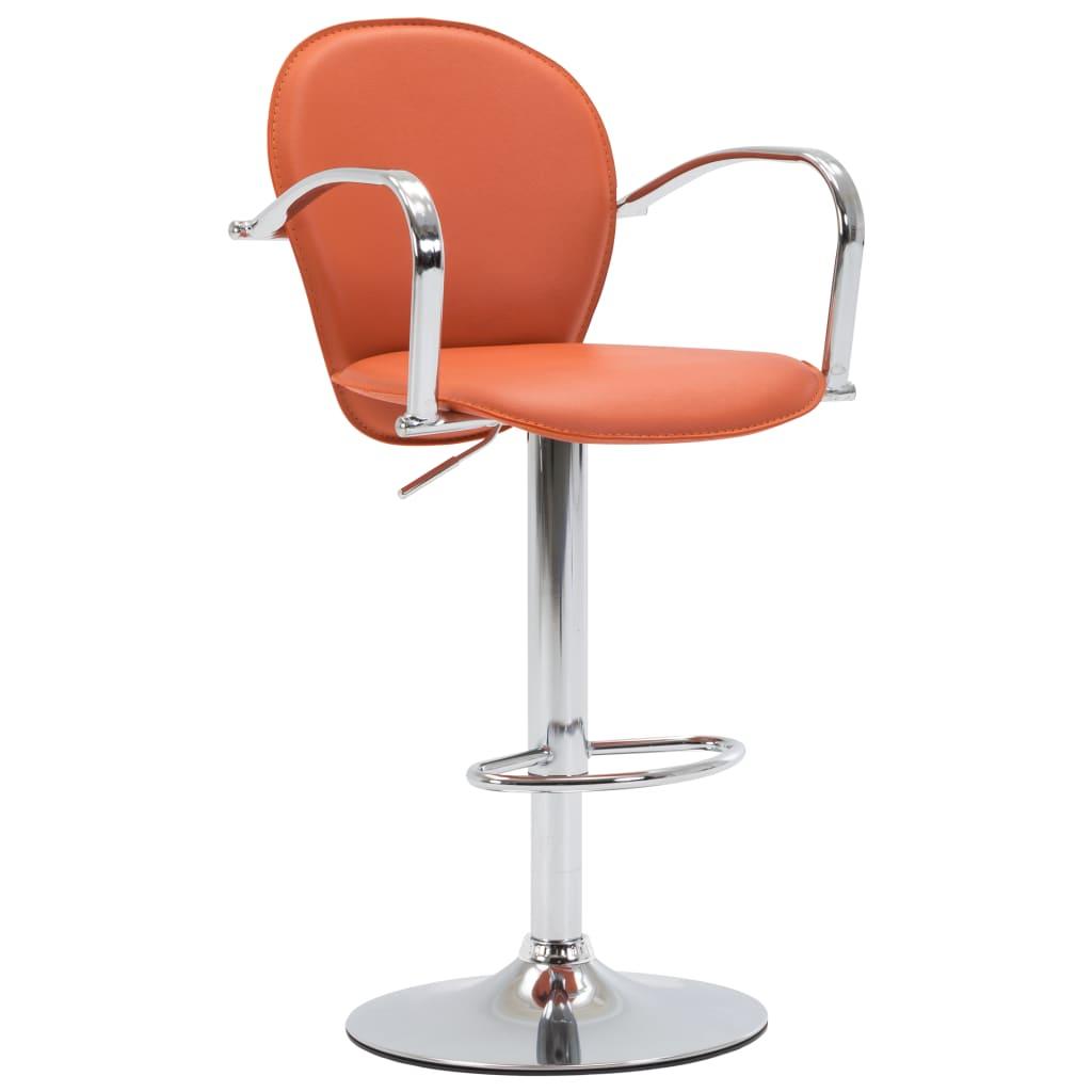 Barová stolička s područkami oranžová umělá kůže