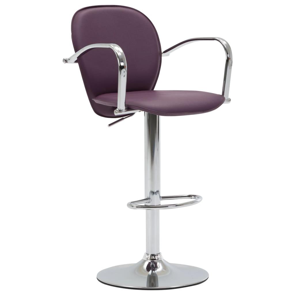 Barová stolička s područkami fialová umělá kůže