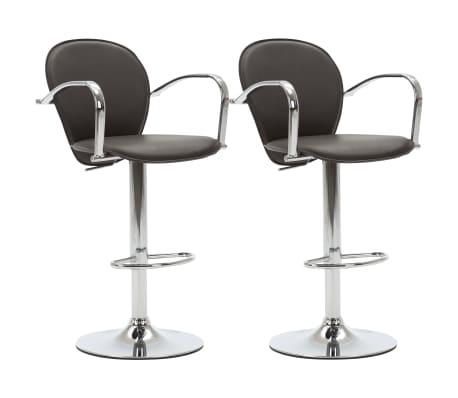 vidaXL Barové stoličky s područkami 2 ks hnědé umělá kůže