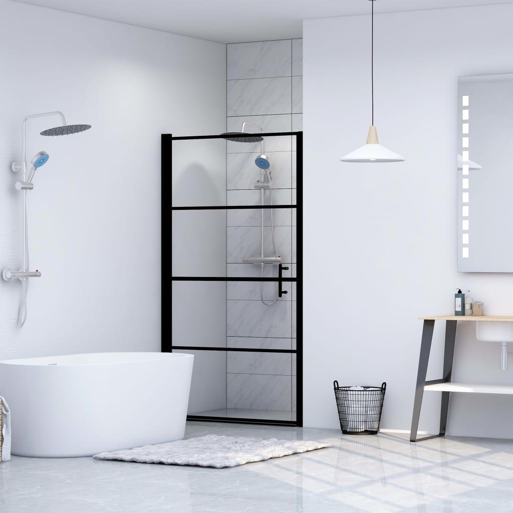 vidaXL Ușă de duș, negru, 81 x 195 cm, sticlă securizată imagine vidaxl.ro