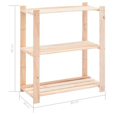 vidaXL Lentyna daiktams, 3 aukštų, 80x38x90cm, pušies masyvas, 150kg[7/7]