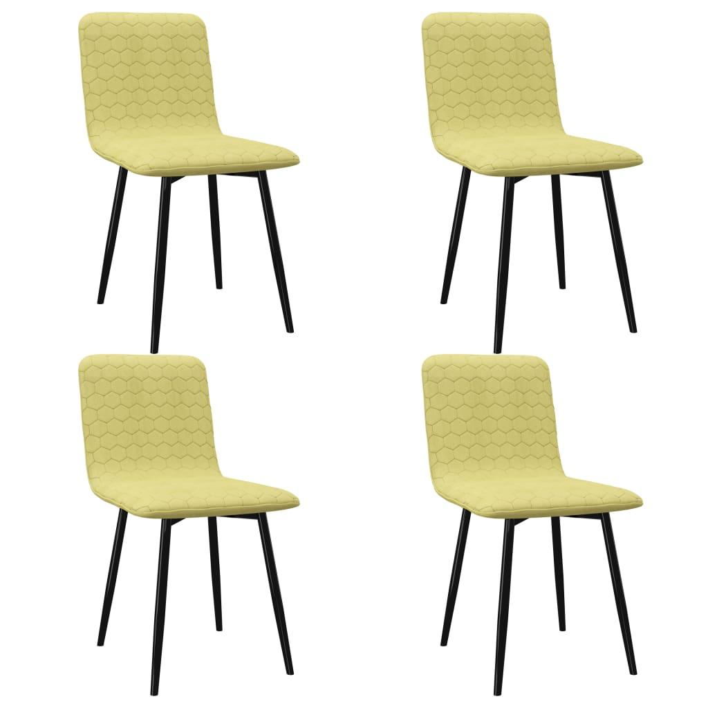 vidaXL Καρέκλες Τραπεζαρίας 4 τεμ. Πράσινες Υφασμάτινες