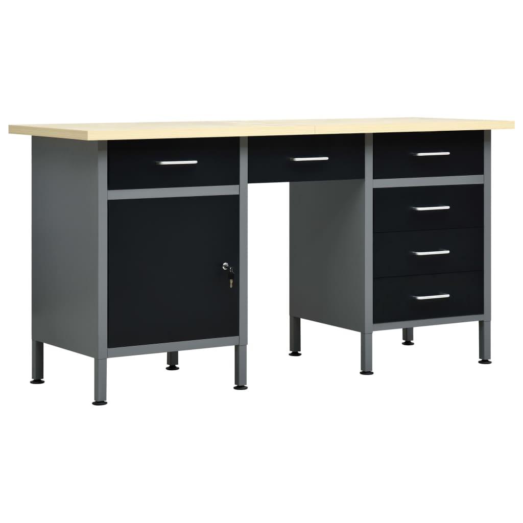 Tööpink, must, 160 x 60 x 85 cm, teras