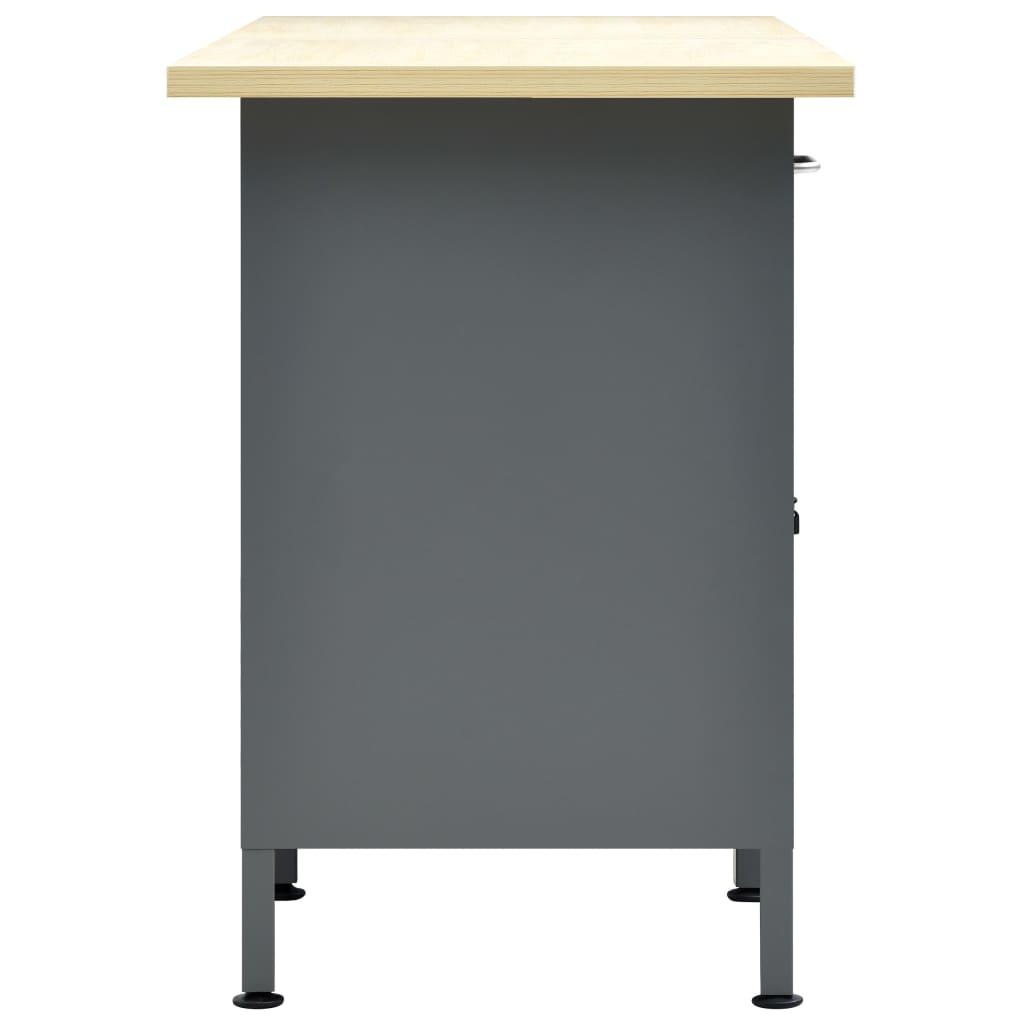 vidaXL Werkbank 160x60x85 cm staal zwart