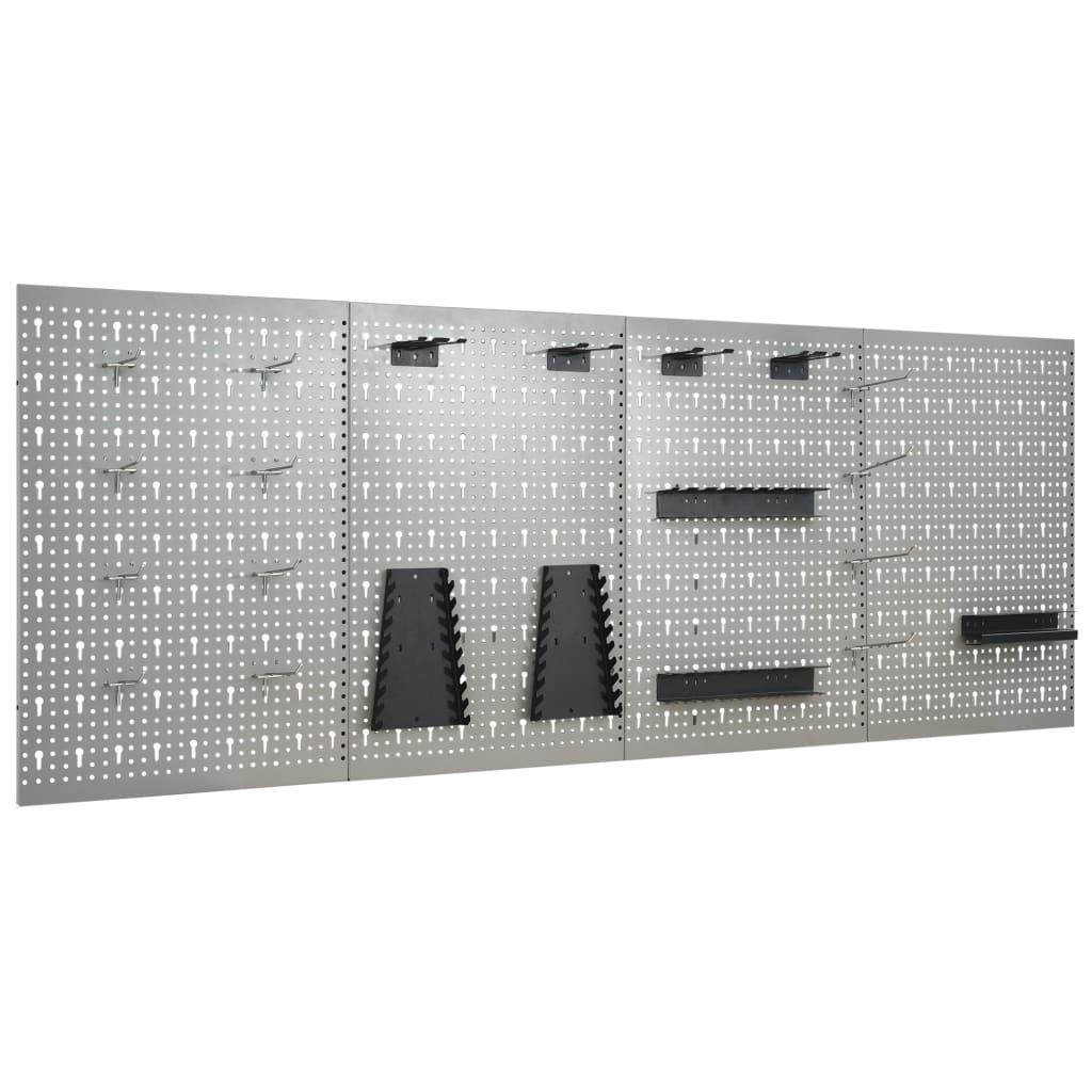 vidaXL Panouri pentru scule de perete, 4 buc., 40 x 58 cm, oțel imagine vidaxl.ro