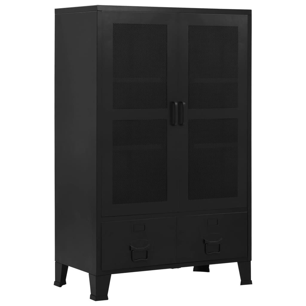 vidaXL Dulap birou cu uși de plasă negru 75x40x120 cm oțel industrial imagine vidaxl.ro