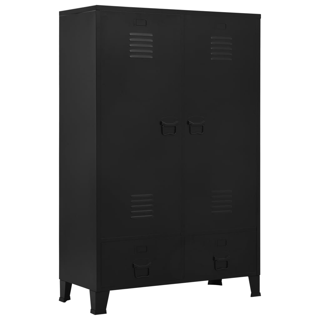 vidaXL Šatní skříň industriální černá 90 x 40 x 140 cm ocel