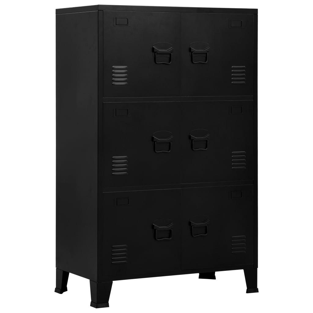 vidaXL Fișet cu 6 uși, negru, 75 x 40 x 120 cm, oțel, industrial imagine vidaxl.ro