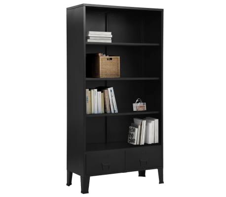 vidaXL Bibliothèque industrielle Noir 90x40x180 cm Acier