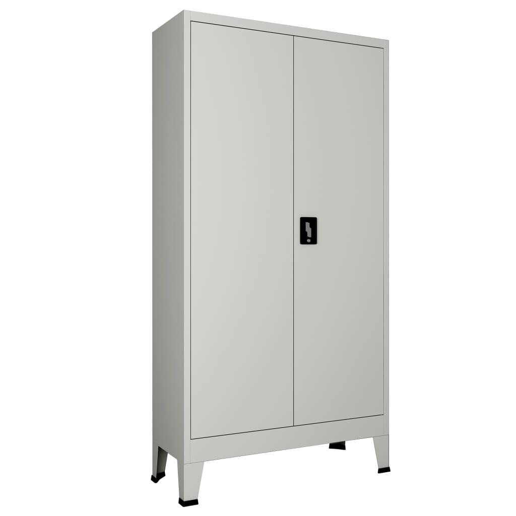 vidaXL Dulap de birou cu 2 uși, gri, 90 x 40 x 180 cm, oțel imagine vidaxl.ro