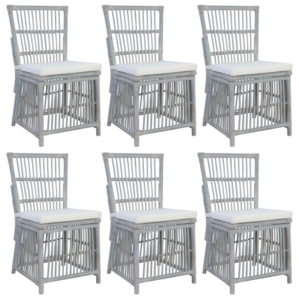 vidaXL Krzesła z poduszkami, 6 szt., szare, naturalny rattan