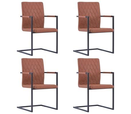 vidaXL Jedálenské stoličky, perová kostra 4 ks, hnedé, umelá koža