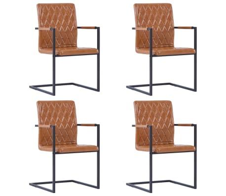 vidaXL Jedálenské stoličky, perová kostra 4 ks, koňakové, umelá koža