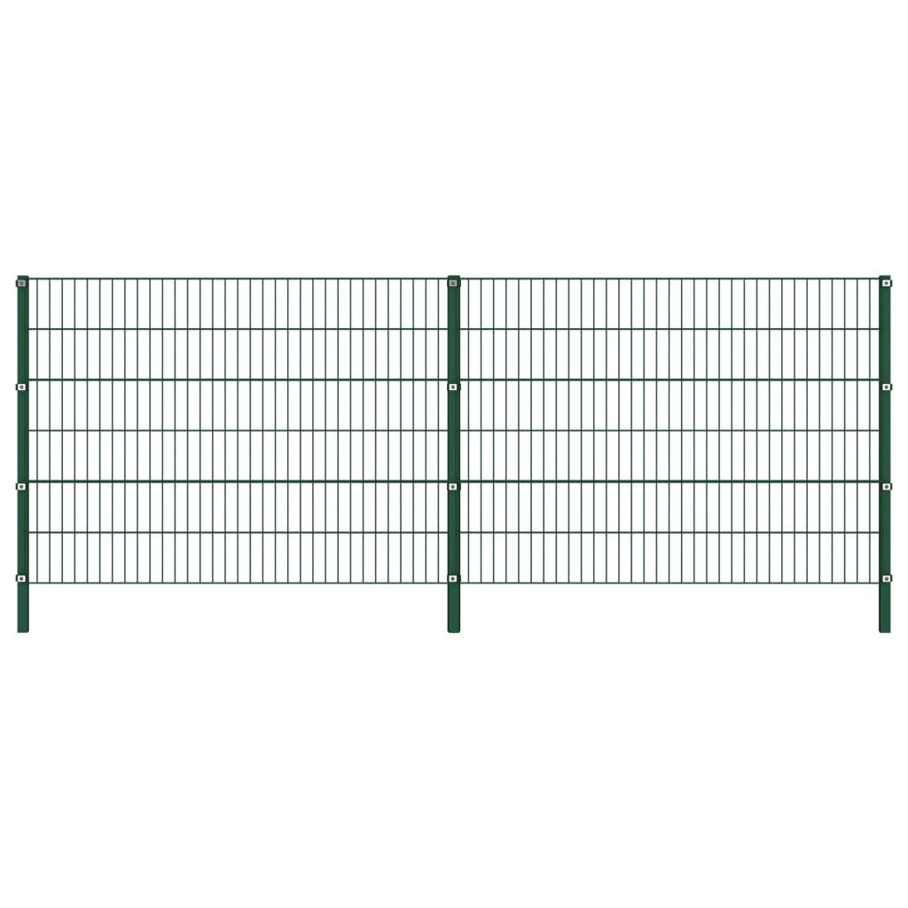 vidaXL Panou de gard cu stâlpi, verde, 3,4 x 1,2 m, fier poza 2021 vidaXL