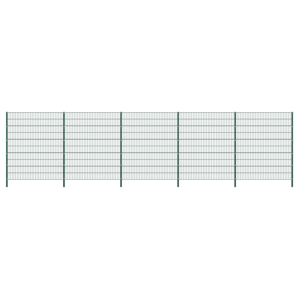 vidaXL Panou de gard cu stâlpi, verde, 8,5 x 2 m, fier poza vidaxl.ro