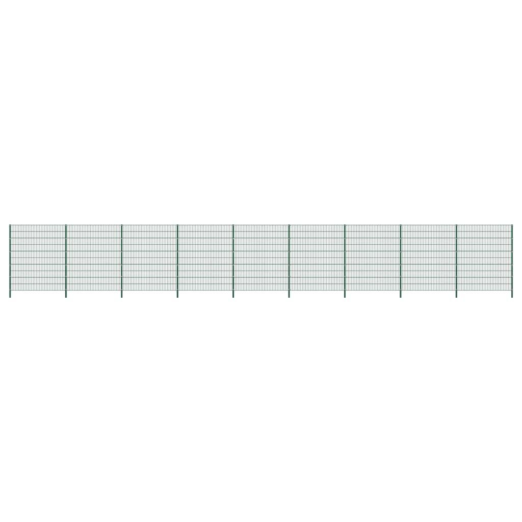 vidaXL Panou de gard cu stâlpi, verde, 15,3 x 2 m, fier vidaxl.ro