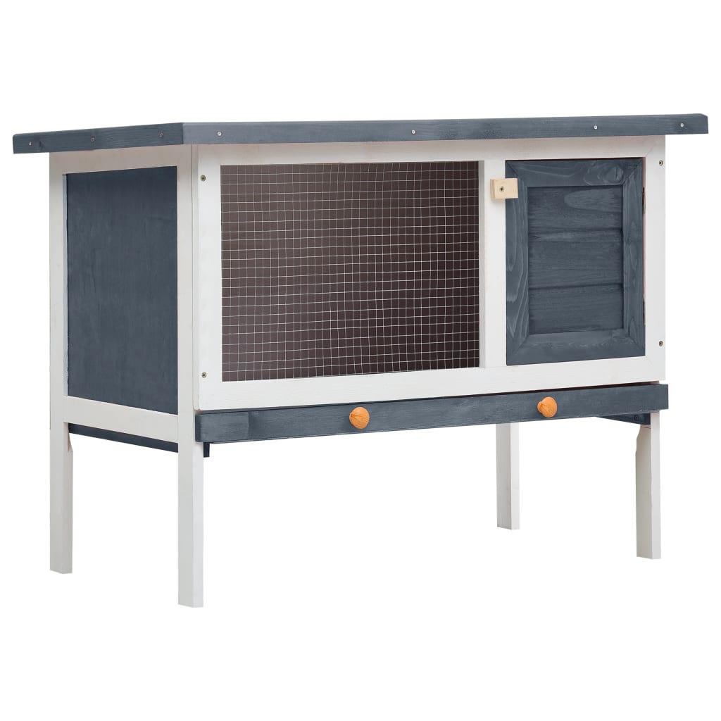 vidaXL Cușcă de iepuri pentru exterior, 1 nivel, gri, lemn vidaxl.ro