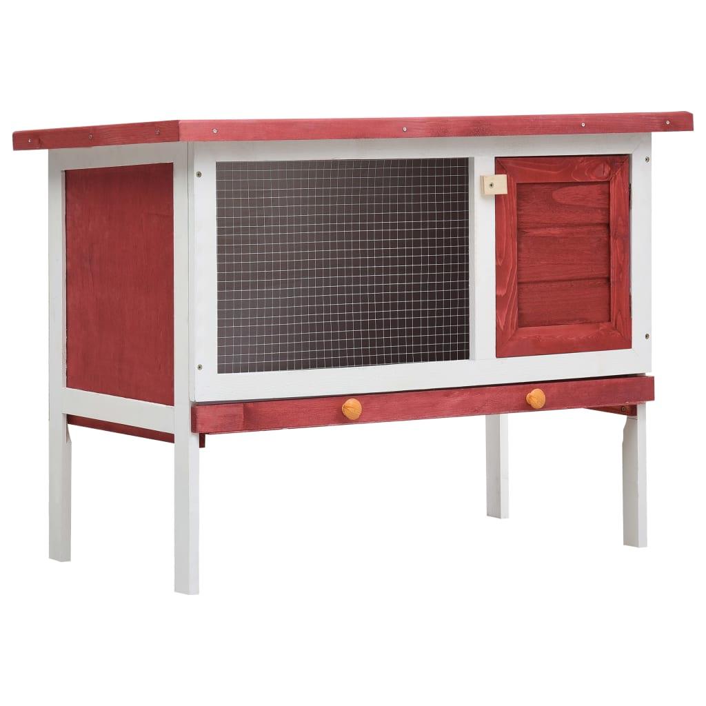vidaXL Cușcă de iepuri pentru exterior, 1 nivel, roșu, lemn vidaxl.ro