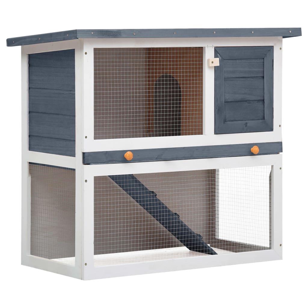 vidaXL Cușcă de iepuri pentru exterior, 1 ușă, gri, lemn vidaxl.ro