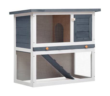 vidaXL Outdoor Rabbit Hutch 1 Door Gray Wood