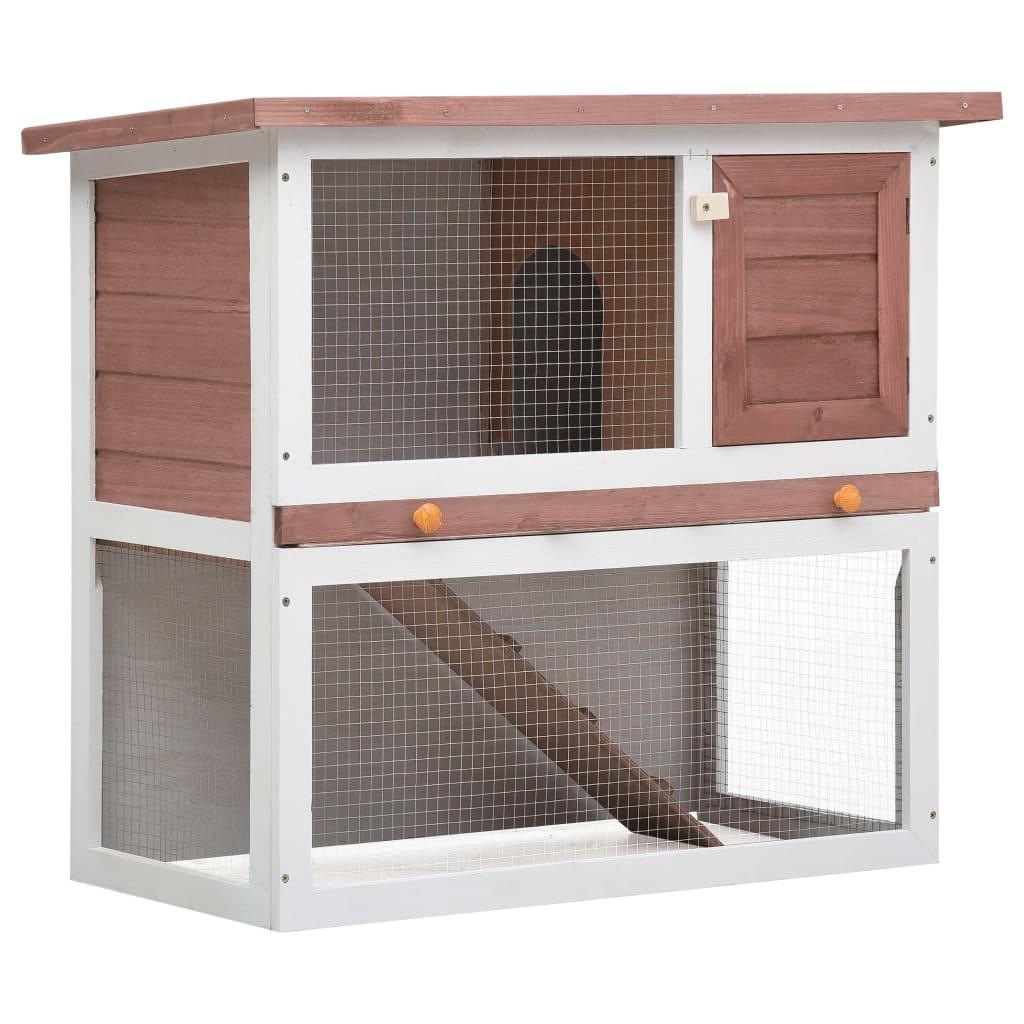 vidaXL Cușcă de iepuri pentru exterior, 1 ușă, maro, lemn vidaxl.ro