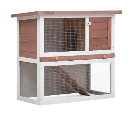 vidaXL Outdoor Rabbit Hutch 1 Door Brown Wood