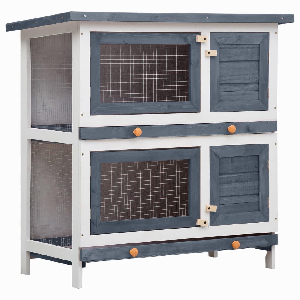 vidaXL Cușcă de iepuri pentru exterior, 4 uși, gri, lemn vidaxl.ro