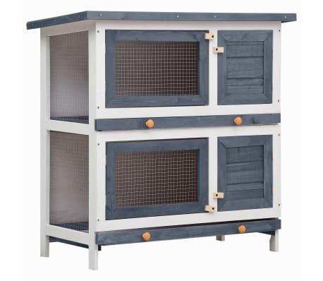 vidaXL Outdoor Rabbit Hutch 4 Doors Gray Wood-picture