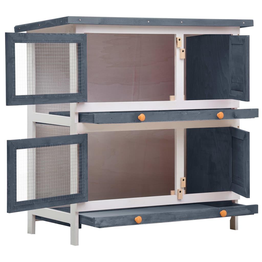 Konijnenhok voor buiten met 4 deuren hout grijs