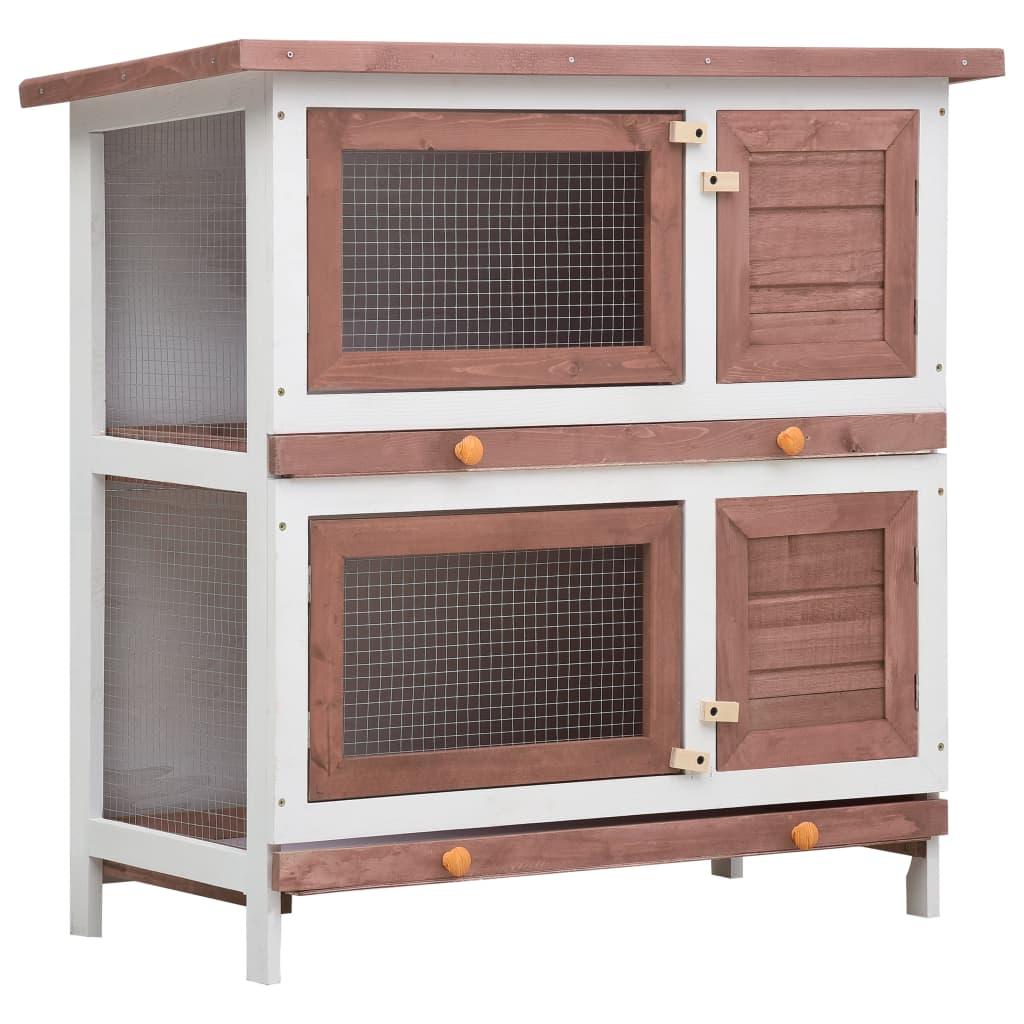 vidaXL Cușcă de iepuri pentru exterior, 4 uși, maro, lemn vidaxl.ro