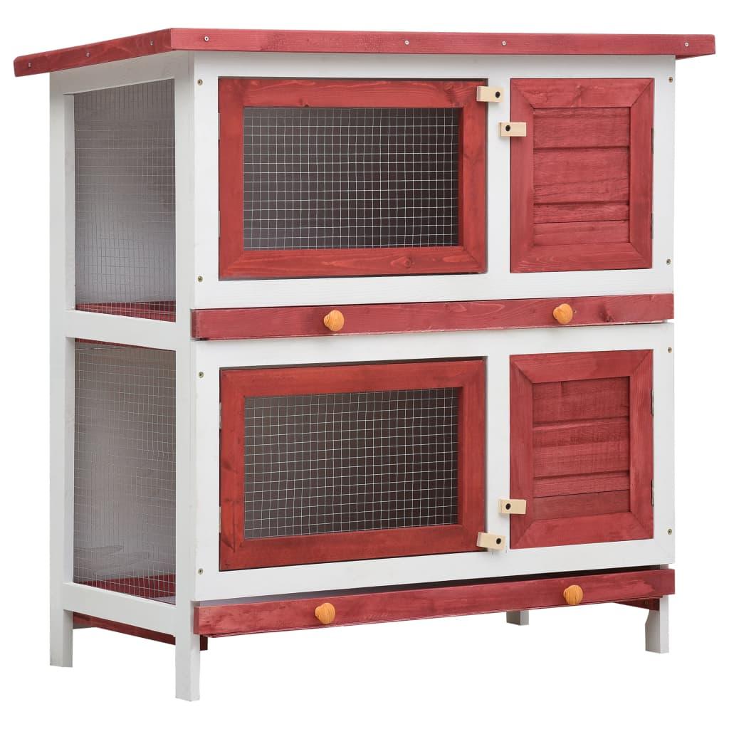 vidaXL Cușcă de iepuri pentru exterior, 4 uși, roșu, lemn vidaxl.ro