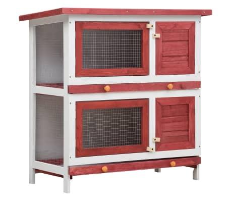 vidaXL Outdoor Rabbit Hutch 4 Doors Red Wood