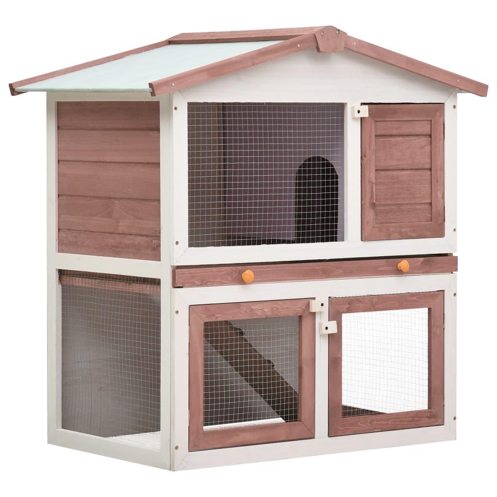 vidaXL Cușcă de iepuri pentru exterior, 3 uși, maro, lemn vidaxl.ro